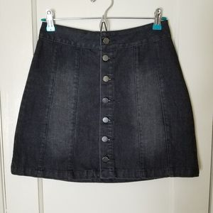 BDG black button front a line denim skirt